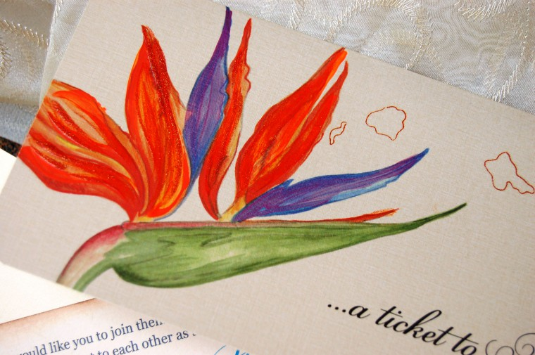 Vibrant hand painted Birds of Paradise Wedding Invitation