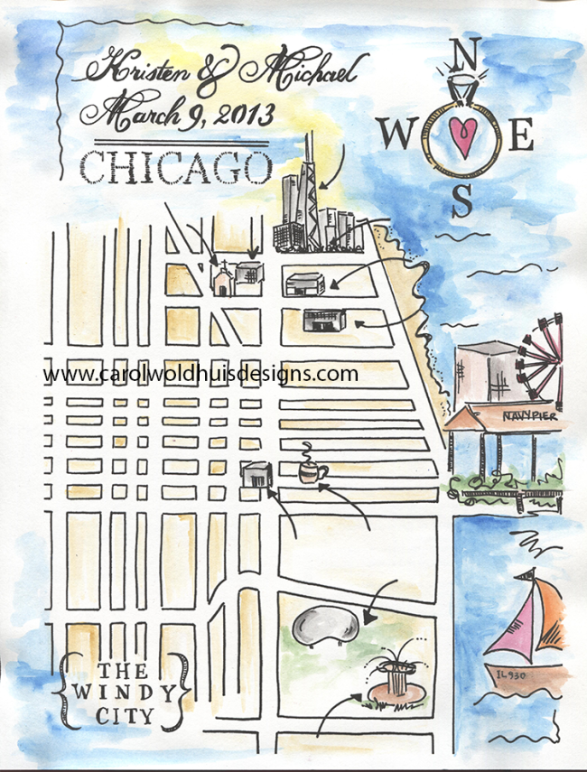 Chicago watercolor Guest Map