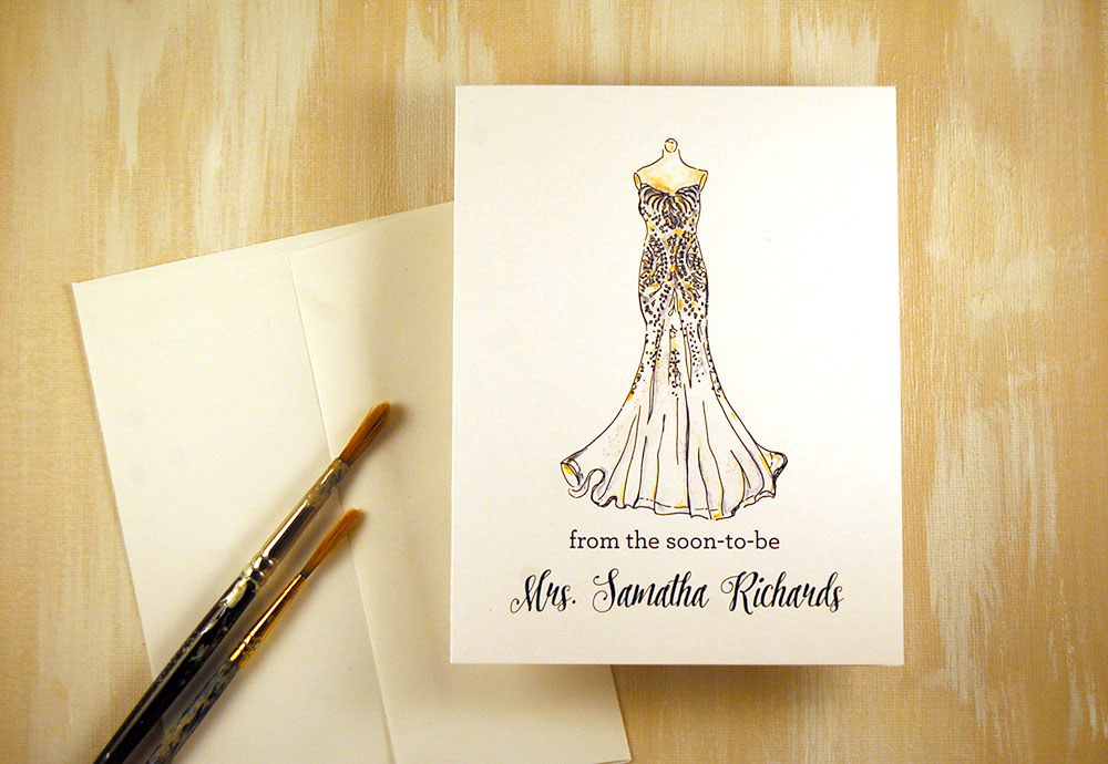 bride to be notecards, soon to be the new mrs, wedding, bridal gown cards, personalized stationery