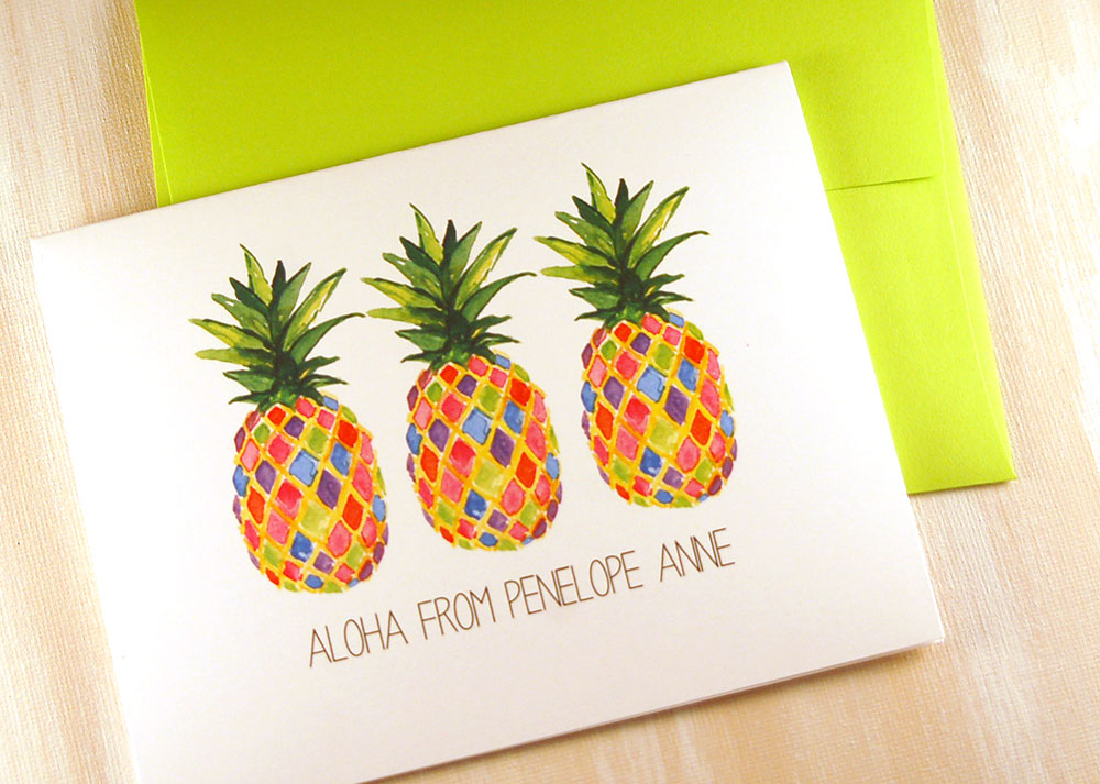 colorful pineapple note cards